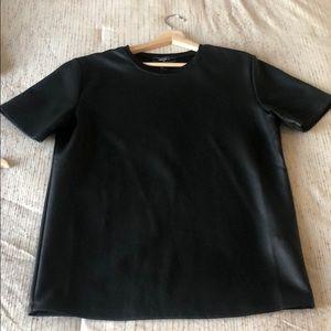 Men's black shirt sleeve leather like T-shirt